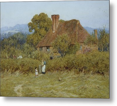 Cottage At Broadham Green Surrey In Sunset Light Metal Print by Helen Allingham