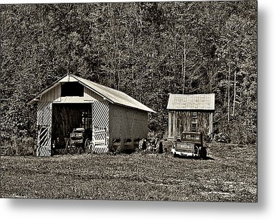 Country Life Sepia Metal Print by Steve Harrington