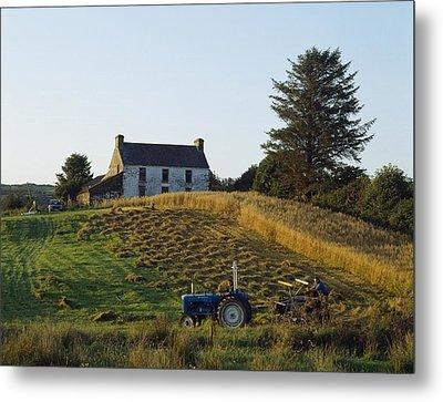 County Cork, Ireland Farmer On Tractor Metal Print by Ken Welsh