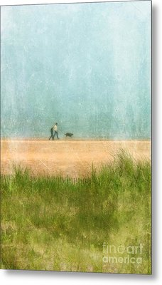 Couple On Beach With Dog Metal Print by Jill Battaglia