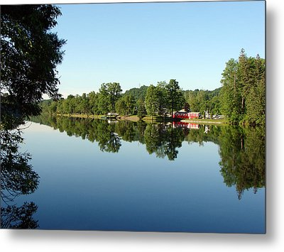 Covered Bridge Reflections At L'ange Gardien Quebec Metal Print by Bruce Ritchie