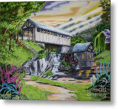 Covered Bridge Metal Print by Robert Thornton