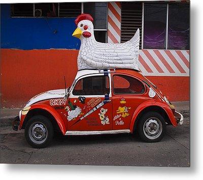 Cowboy Chicken Metal Print by Skip Hunt