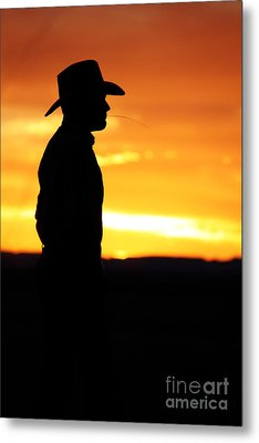 Cowboy Sunset Metal Print by Val Armstrong