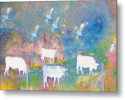 Cows And Birds Metal Print by Jeff Burgess