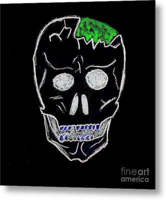 Cracked Skull Black Background Metal Print by Jeannie Atwater Jordan Allen