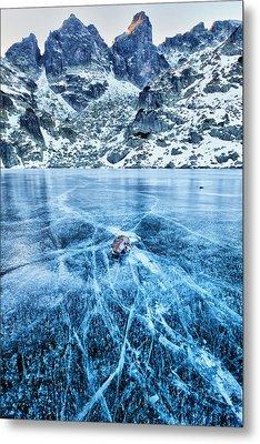 Cracks In The Ice Metal Print by Evgeni Dinev
