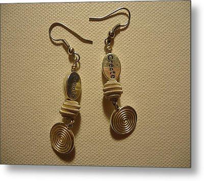 Create In Silver Earrings Metal Print by Jenna Green