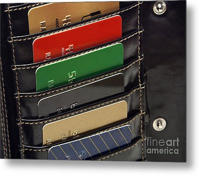 Credit Cards In Wallet Metal Print by Blink Images