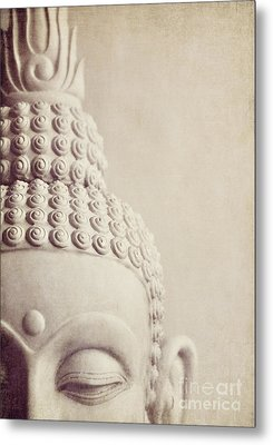 Cropped Stone Buddha Head Statue Metal Print by Lyn Randle