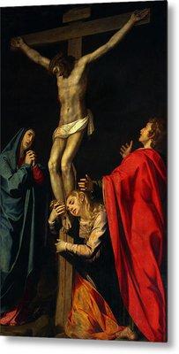 Crucification At Night Metal Print by Munir Alawi