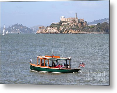 Cruizing The San Francisco Bay On The Pier 39 Boat Taxi With Alcatraz Island In The Distance.7d14322 Metal Print by Wingsdomain Art and Photography