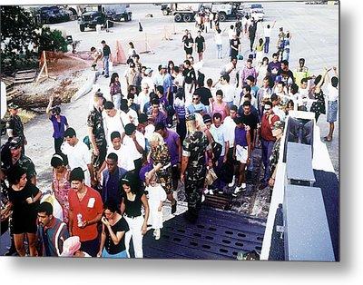 Cuban Migrants At Guantanamo Bay Naval Metal Print by Everett