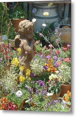 Cupid And A Mixed Bouquet Metal Print by Joan  Jones
