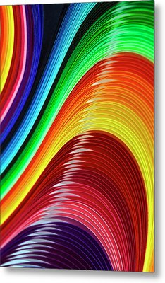 Curves Of Colored Paper Metal Print by Image by Catherine MacBride