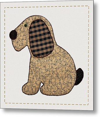 Cute Country Style Gingham Dog Metal Print by Tracie Kaska