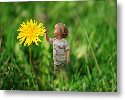 Cute Tiny Boy Playing In The Grass Metal Print by Jaroslaw Grudzinski