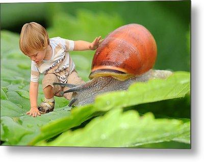 Cute Tiny Boy Playing With A Snail Metal Print by Jaroslaw Grudzinski