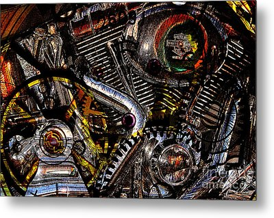Cyberpunk Harley-davidson Modified In Abstract . 7d12658 Metal Print by Wingsdomain Art and Photography