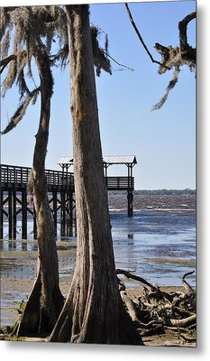 Cypress And Dock At Low Tide Metal Print by Tiffney Heaning