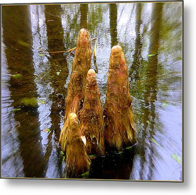 Cypress Family Of Monks Metal Print by Mindy Newman
