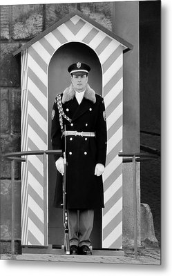 Czech Soldier On Guard At Prague Castle Metal Print by Christine Till