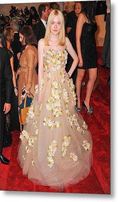 Dakota Fanning Wearing A Dress Metal Print by Everett