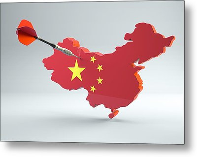 Dart Arrow In A Shape And Ensign Of China Metal Print by Dieter Spannknebel