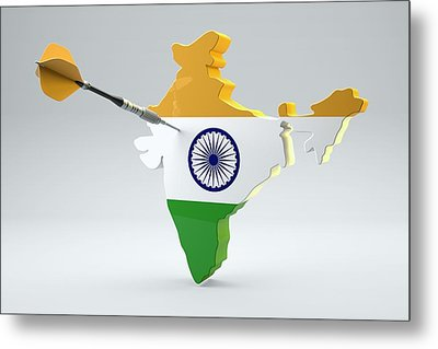 Dart Arrow In A Shape And Ensign Of India Metal Print by Dieter Spannknebel
