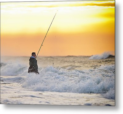 Dawn Fishing Metal Print by Vicki Jauron