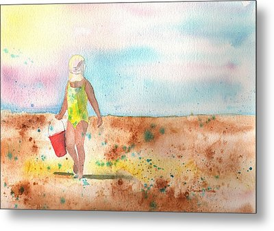 Day At The Beach Metal Print by Sharon Mick
