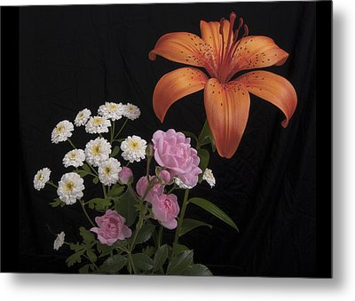 Daylily And Roses Metal Print by Michael Peychich