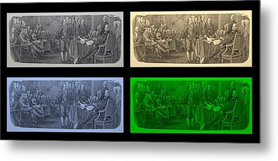 Declaration Of Independence In Quad Colors Metal Print by Rob Hans