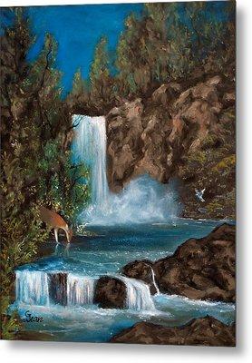 Deer Falls Metal Print by Gloria Jean