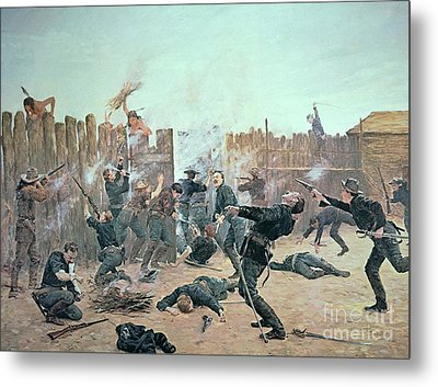Defending The Fort Metal Print by Charles Schreyvogel