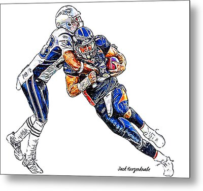 Denver Broncos Tim Tebow - New England Patriots Rob Ninkovich Metal Print by Jack K