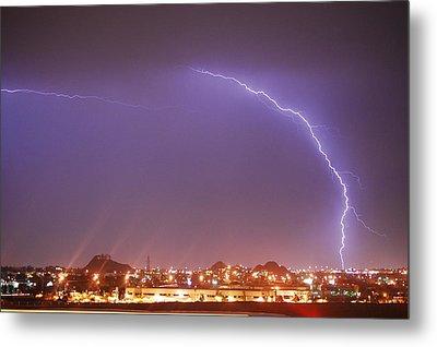 Desert Lightning Metal Print by Jennifer Nixon