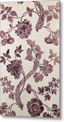Design For A Silk Damask Metal Print by Anna Maria Garthwaite
