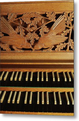 Detail Of A Pipe Organ With A Wooden Carving Metal Print by Gregor Hohenberg