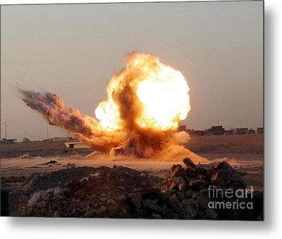 Detonation Of A Weapons Cache Metal Print by Stocktrek Images