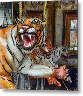 Detroit Tigers Carousel Metal Print by Michelle Calkins