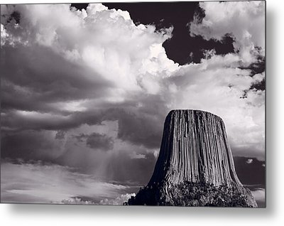 Devils Tower Wyoming Bw Metal Print by Steve Gadomski