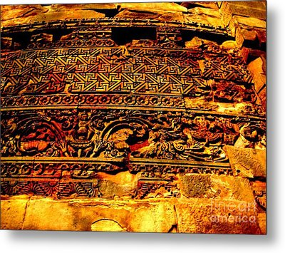 Dharma Inscription In Sarnath Metal Print by Adendorff Design