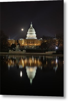 Digital Liquid - Full Moon At The Us Capitol Metal Print by Metro DC Photography