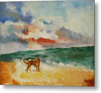 Dog On The Beach Metal Print by Susan Hanlon
