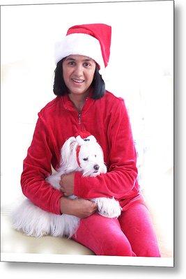 Doggie Christmas Metal Print by Vijay Sharon Govender
