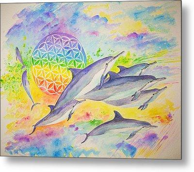 Dolphins-color Metal Print by Tamara Tavernier