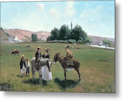 Donkey Ride Metal Print by Camille Pissarro