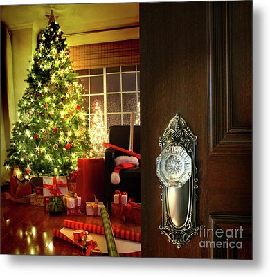 Door Opening Into A Christmas Living Room Metal Print by Sandra Cunningham