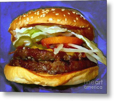 Double Whopper With Cheese And The Works - V2 - Painterly - Purple Metal Print by Wingsdomain Art and Photography